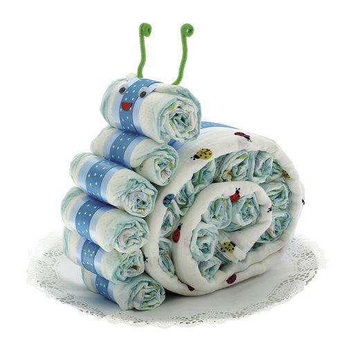 Tarta de pañales con forma de Caracol con muselina azul