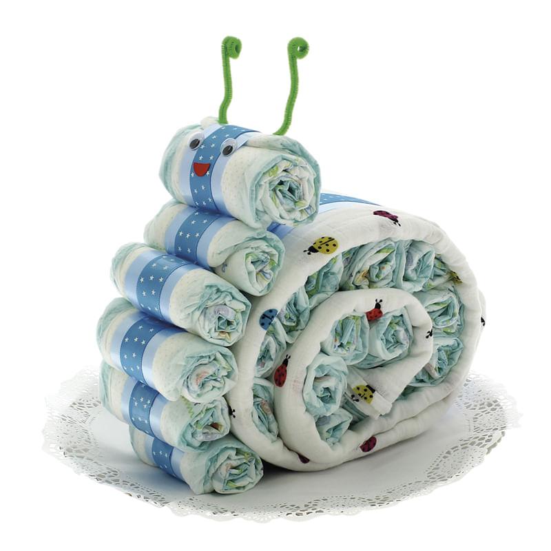 Tarta-de-pañales-con-forma-de-Caracol-con-muselina-azul