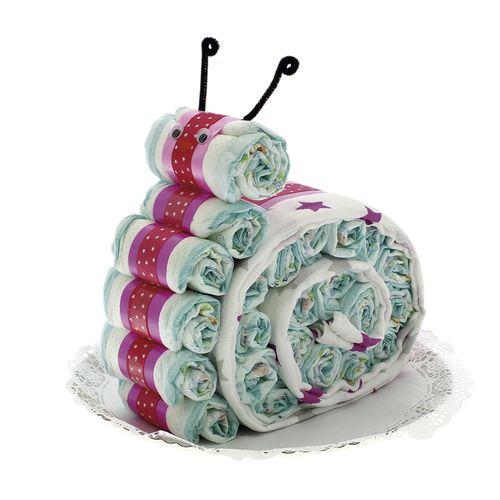Tarta de pañales con forma de Caracol con muselina rosa