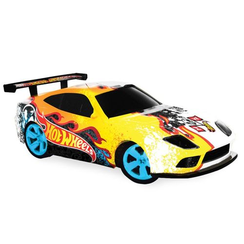 Coche RC Hot Wheels Blanco/Amarillo Escala 1:32