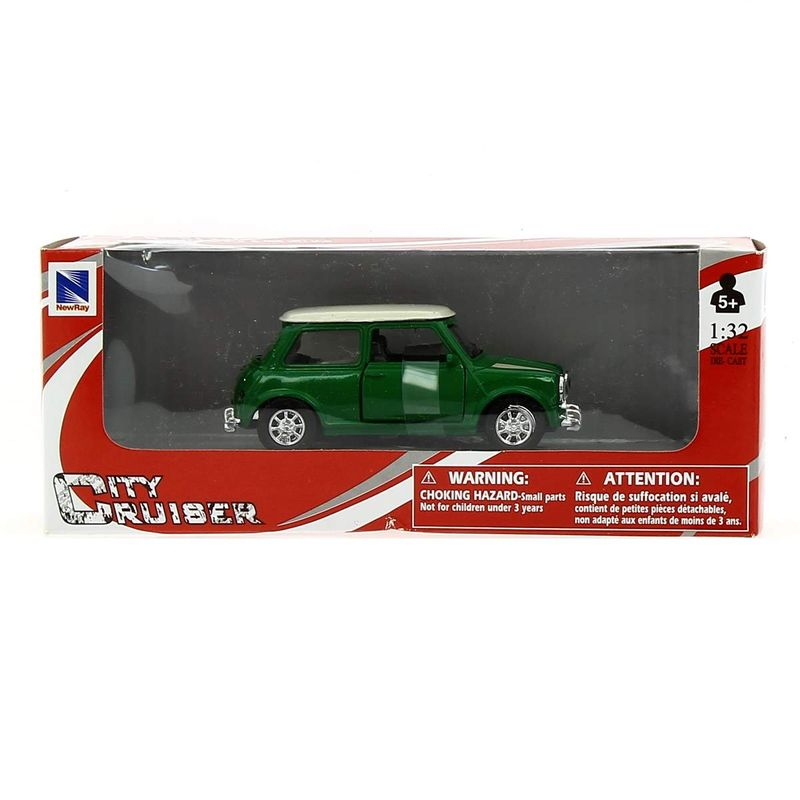 Coche-Miniatura-Mini-cooper-Vintage-Verde-Escala-1-32_1