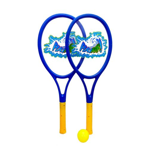 Set 2 Raquetas con Pelota y Pluma Azul