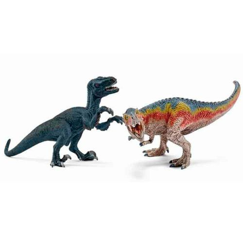 Figura de Tyrannosaurus Rex y de Velociraptor