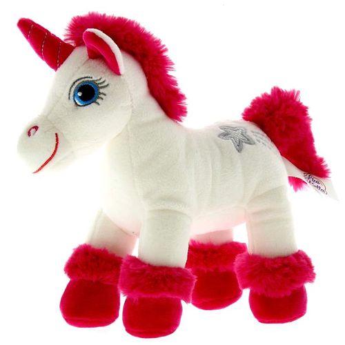 Unicornio de Peluche Blanco y Fucsia con Sonido