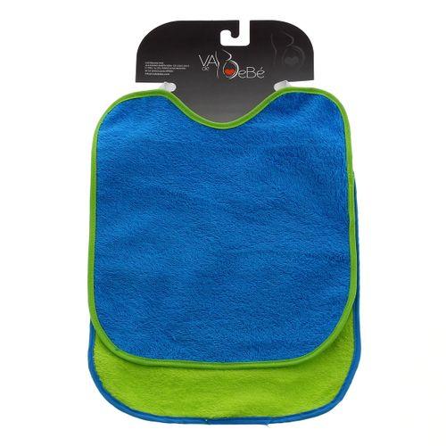 Baberos rizo y goma cuello Azul y Verde 2 uds