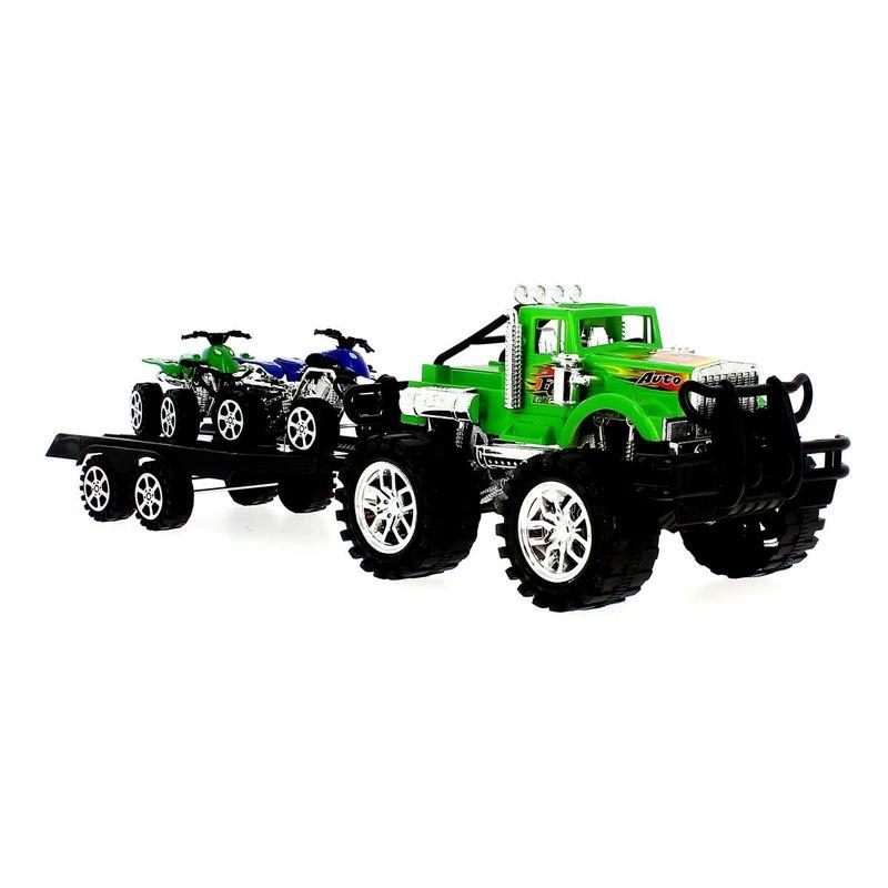 Coche-Crusher-Verde-con-Remolque-y-Quads