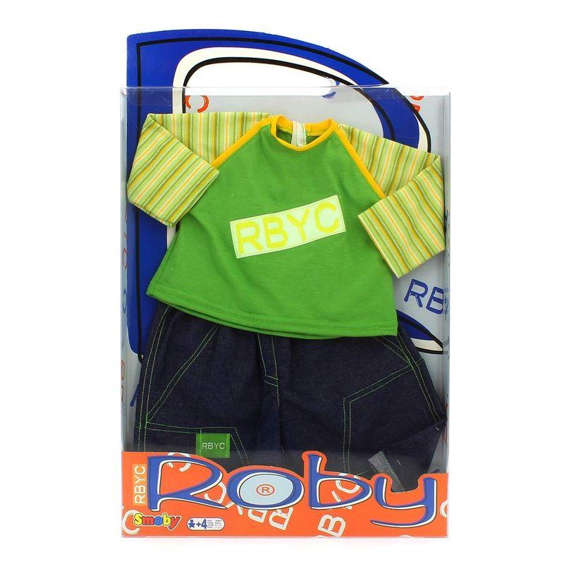 Muñeco-Roby-Conjunto-Camiseta-Verde-y-Pantalon-Tejano
