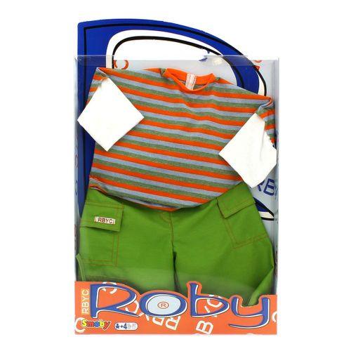Muñeco Roby Conjunto Camiseta a Rayas y Pantalones Verdes