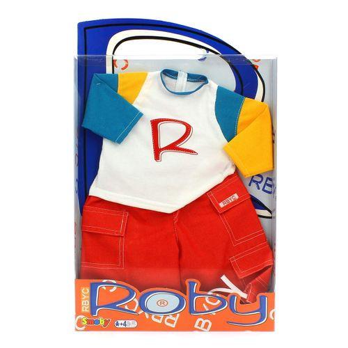 Muñeco Roby Conjunto Camiseta Blanca y Pantalón Rojo