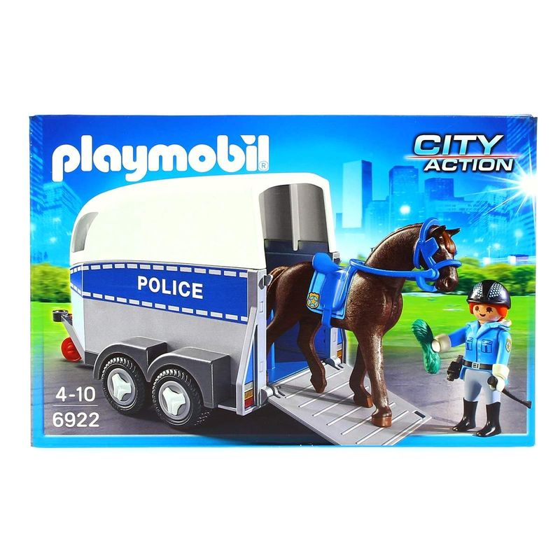 Playmobil-Policia-con-Caballo-y-Remolque