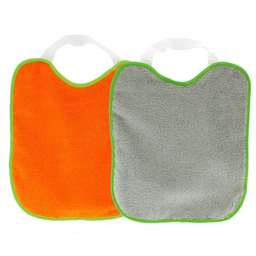 Baberos rizo y goma cuello Gris y Naranja 2 uds