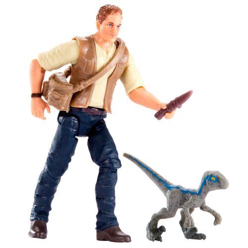 Jurassic World Figura Owen & Cría de Velociraptor