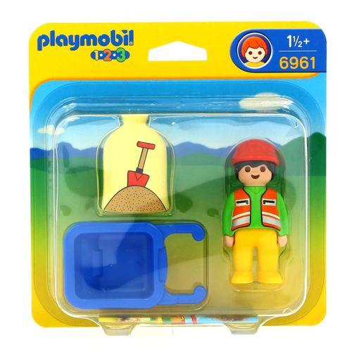 Playmobil 1.2.3 Trabajador con Carretilla