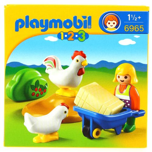 Playmobil 1.2.3 Granjera con Gallina