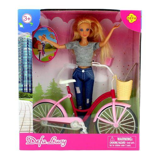 Muñeca Fashion Gris con Bicicleta