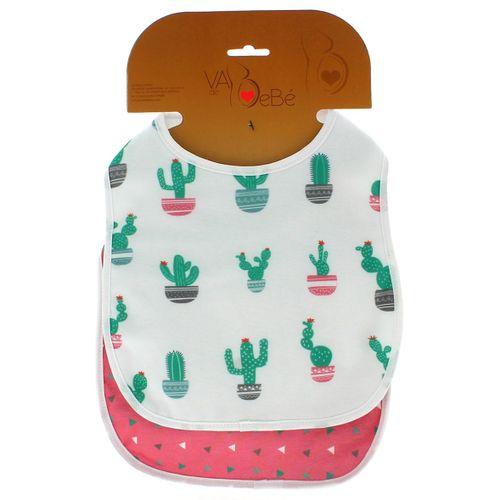 Pack 2 Baberos Rizo con Velcro Cactus Rosa