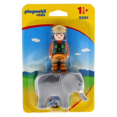 Playmobil 1.2.3 Cuidadora con Elefante