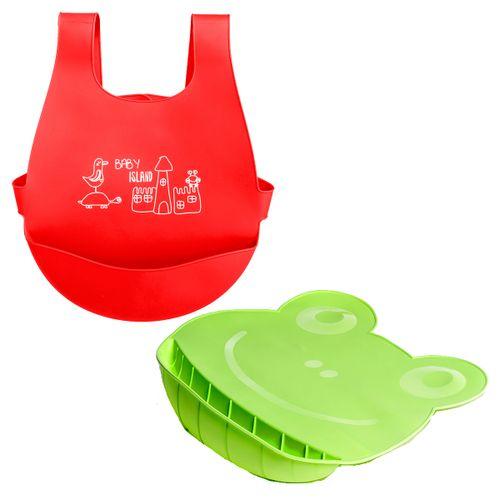 Babero y Mantel de silicona Rojo y Verde