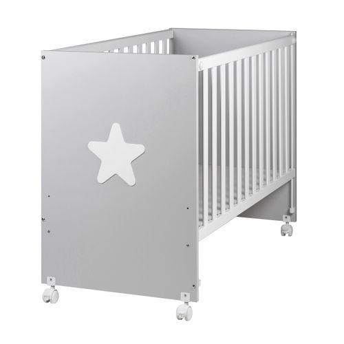 Cuna de madera Star gris/blanco 60*120 cm