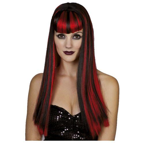 Complemento Carnaval Peluca Lisa en Rojo/Negro
