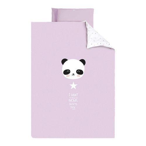 Funda nórdica + funda almohada 60/70 Panda Rosa