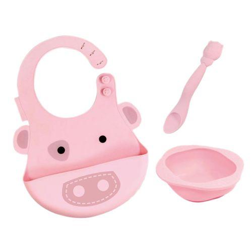 Set vajilla silicona Babero+Bol+Cuchara Pig