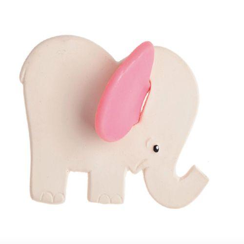 Mordedor de Caucho Natural Elefante Rosa