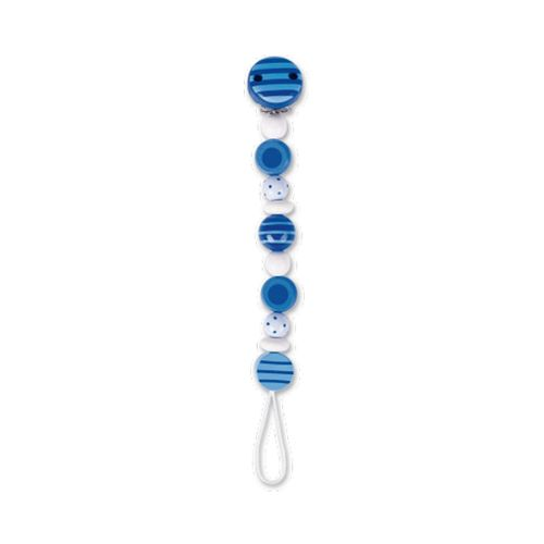 Cadena Portachupetes de Madera Rayas Azul