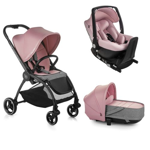 Trio Outback Crib + grupo 0 One con base Be Pink