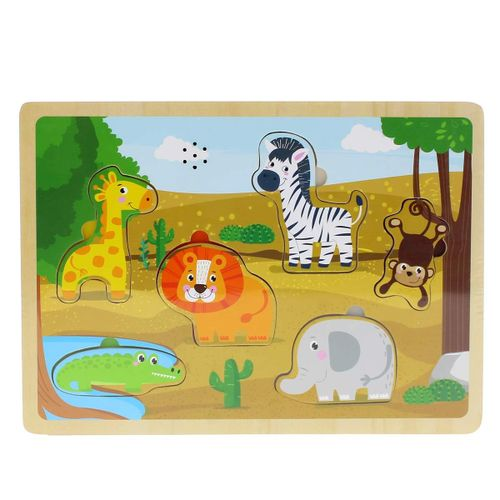 Puzzle Madera Animales Sabana