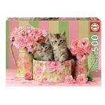 Puzzle-de-500-piezas-Gatitos-con-Rosas