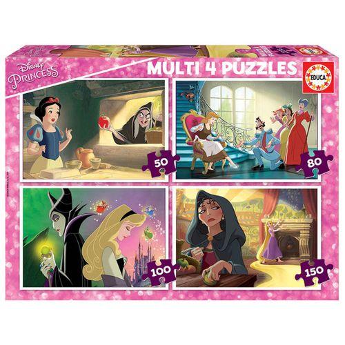 Disney Villanas Multi 4 Puzzles 50+80+100+150
