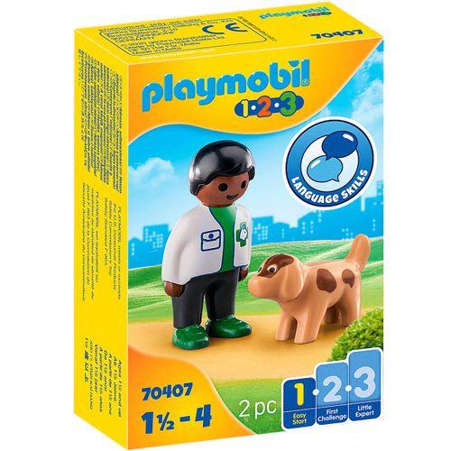 Playmobil 1.2.3 Veterinario con Perro