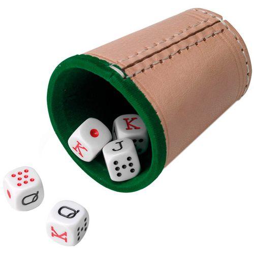Cubilete Cuero Forrado Con Dados Póker
