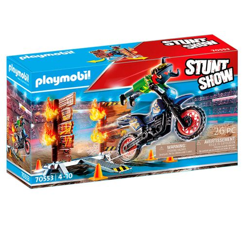 Playmobil Stuntshow Moto con Muro de Fuego