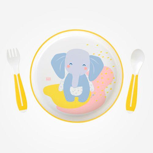 Plato + Cubiertos Elefante Microondas