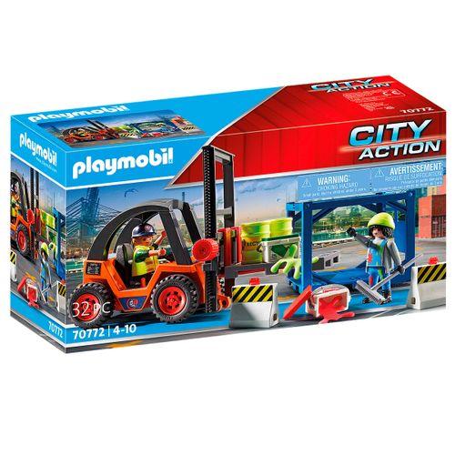Playmobil City Action Carretilla Elevadora Carga